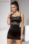 Nuisette opaque et moulante en lycra noir, d�cor�e d'une dentelle brod�e de motifs tendres et f�minins.