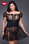 Nuisette romantique en dentelle avec une large ceinture corset Queen size, elle sublime la sensualit� des rondes.