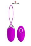 Oeuf vibrant en silicone avec t�l�commande sans fil, 12 modes de vibrations, par la marque Pretty Love.