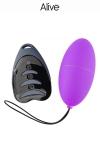 Petit oeuf vibrant t�l�command� violet, puissant et silencieux  pour se faire plaisir en solo ou en couple, marque Alive.