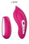 Luxueux mini stimulateur t�l�command� chauffant avec sa culotte sp�ciale fournie pour un confort maxi, couleur cerise.