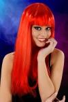 Perruque fantaisie avec cheveux longs couleur rouge, marque Cabaret Wigs.