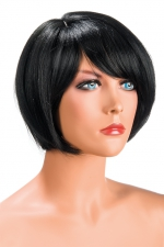 Perruque Mia brune - Perruque brune aux cheveux courts en carré avec mèche ayant un aspect actuel.