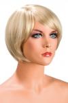 Perruque blonde aux cheveux courts en carr� avec m�che ayant un aspect actuel.
