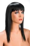 Perruque brune longue et � frange effil�e pour changer de look.