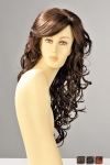 Perruque longue aux cheveux ondulés de boucles sensuelles qui se répandent sur la poitrine.