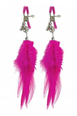 Paire de pinces à seins Fetish Fantasy Series, ornées de plumes à leur extrémité.