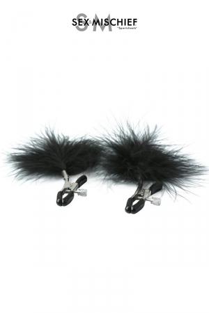 Pinces à seins réglables avec des plumes noires décoratives, par Sex & Mischief.