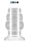 Plug anal translucide, creux au milieu, 10,2 cm de long par 5,7 cm de diam�tre maxi.