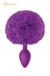 Un plug anal �l�gant et original avec son pompon violet en fourrure synth�tique fix� � son extr�mit�.
