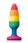 Plug anal Rainbow colours Pride  �dition, 13,3 cm long x 4 cm diam�tre, dot� d'une ventouse puissante.