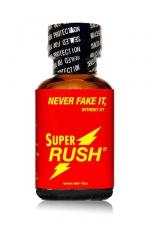 Poppers Super Rush 24ml - Le poppers Super Rush est un arôme puissant et fort à base de nitrite de Pentyle, en grand flacon de 24 ml.