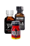 Pack Expert de 3 poppers au pentyle:  Adler 9ml, Amsterdam Black Label 24ml et Super Rush Black Label 24ml.