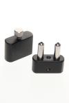 Inhalateur en acier noir et argent avec 2 cylindres pour stocker le poppers et cordelette tour de cou en cuir.