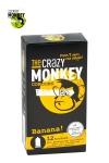 12 pr�servatifs jaunes, ar�me banane, cylindriques, lisses et lubrifi�s, par Crazy Monkey.