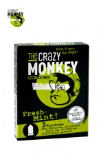 3 Préservatifs Crazy Monkey Menthe Fraiche - 3 préservatifs verts, gout menthe, cylindriques, lisses, lubrifiés, par Crazy Monkey.