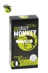 12 pr�servatifs verts, gout menthe, cylindriques, lisses et lubrifi�s, par Crazy Monkey.