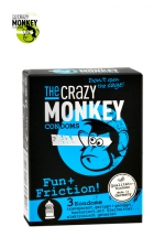 3 Préservatifs Crazy Monkey Fun & Friction - 3 préservatifs transparents dotés de picots et de nervures, pour accroitre les sensations de votre partenaire, marque Crazy Monkey.