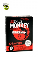 3 Préservatifs Crazy Monkey X-Large - 3 préservatifs taille XL, couleur rouge, avec saveur de fraise, pour les gros calibres par Crazy Monkey.