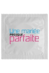 Pr�servatif  Une Mari�e Presque Parfaite , un pr�servatif personnalis� humoristique de qualit�, fabriqu� en France, marque Callvin.