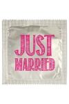 Pr�servatif  Just Married , un pr�servatif personnalis� humoristique de qualit�, fabriqu� en France, marque Callvin.