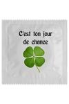 Pr�servatif  Jour De Chance , un pr�servatif personnalis� humoristique de qualit�, fabriqu� en France, marque Callvin.