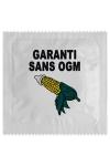 Pr�servatif  Garantie Sans Ogm , un pr�servatif personnalis� humoristique de qualit�, fabriqu� en France, marque Callvin.