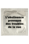 Pr�servatif  Abstinence , un pr�servatif personnalis� humoristique de qualit�, fabriqu� en France, marque Callvin.