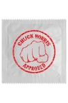 Pr�servatif  Chuck Norris , un pr�servatif personnalis� humoristique de qualit�, fabriqu� en France, marque Callvin.