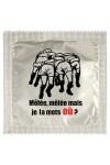 Pr�servatif  Je La Mets Ou , un pr�servatif personnalis� humoristique de qualit�, fabriqu� en France, marque Callvin.