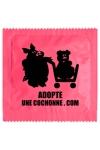 Pr�servatif  Adopte Une Cochonne , un pr�servatif personnalis� humoristique de qualit�, fabriqu� en France, marque Callvin.