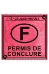 Pr�servatif  Permis De Conclure , un pr�servatif personnalis� humoristique de qualit�, fabriqu� en France, marque Callvin.