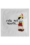 Pr�servatif   Fais Moi Mentir , un pr�servatif personnalis� humoristique de qualit�, fabriqu� en France, marque Callvin.