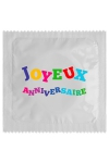 Pr�servatif  Joyeux Anniversaire , un pr�servatif personnalis� humoristique de qualit�, fabriqu� en France, marque Callvin.