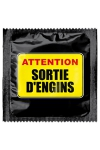 Pr�servatif  Attention Sortie D'engins , un pr�servatif personnalis� humoristique de qualit�, fabriqu� en France, marque Callvin.