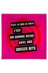 Pr�servatif  Un Homme Riche Avec... ,  un pr�servatif personnalis� humoristique de qualit�, fabriqu� en France, marque Callvin.