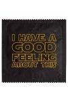 Pr�servatif  Good Feeling , un pr�servatif personnalis� humoristique de qualit�, fabriqu� en France, marque Callvin.