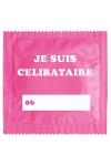 Pr�servatif  Je Suis C�libataire Rose , un pr�servatif personnalis� humoristique de qualit�, fabriqu� en France, marque Callvin.