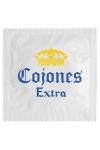 Pr�servatif  Cojones Extra , un pr�servatif personnalis� humoristique de qualit�, fabriqu� en France, marque Callvin.