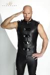 Veste sans manches ras du cou style uniforme d'apparat, ferm�e par un zip et des bandes de vinyle brillant.