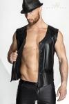 Gilet � pressions en wetlook mat et vinyle, un classique masculin intemporel servi dans un style moderne et sexy.