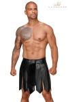 Jupe gladiateur faux cuir, d�cor� devant d'une bande vinyle pliss�e retenue par quatre pressions.