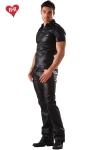 Jeans aspect faux cuir et coupe classique, un indispensable pour une allure � la fois d�contract�e et sophistiqu�e.