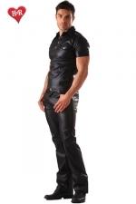 Jeans faux cuir Classic Cut - Jeans aspect faux cuir et coupe classique, un indispensable pour une allure à la fois décontractée et sophistiquée.