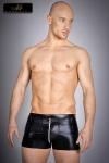 Short zipp� en lycra wetlook, une seconde peau noir brillant qui vous met en valeur.