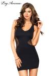 Petite robe noire sexy avec un empi�cement de r�sille qui part des hanches pour d�voiler le dos.