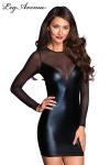 Petite robe simple moulante noire, manches et dos en voile transparent.