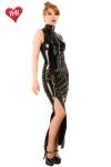 Robe longue fourreau en vinyle avec deux zips sur les cuisses pour ajuster son look... ravageur !