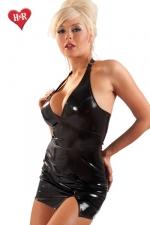 Robe fendue Extase - Mini robe en vinyle dos nu très sensuelle avec sa fente sexy sur le haut de la cuisse.