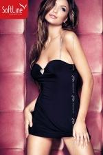 Robe Elly - La petite robe noire de soirée version courte, rehaussée de bretelles argent et d'un motif coeur au creux du décolleté.